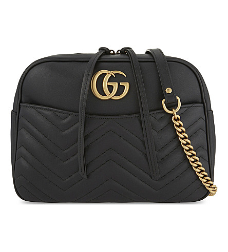 GUCCI GG Marmont medium quilted leather shoulder bag (Black
