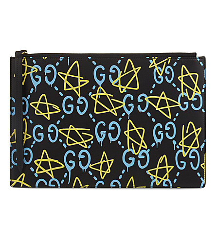 GUCCI GG Star leather pouch (Black+blue+yellow