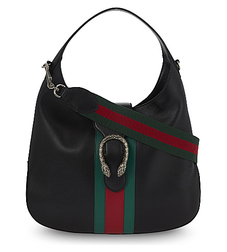 GUCCI Dionysus Jackie medium leather hobo bag (Black+green+red