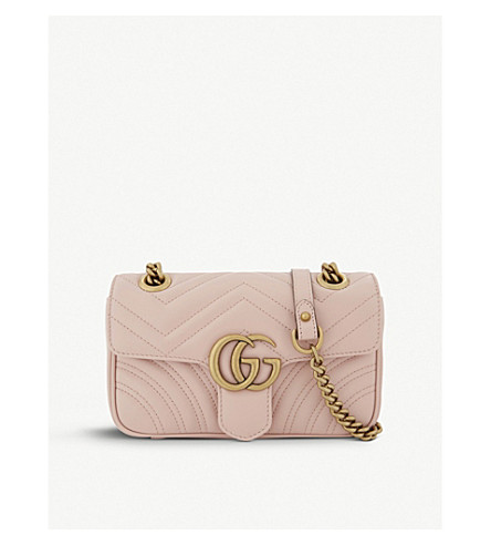GUCCI Marmont GG mini leather cross-body bag (Perfect+pink