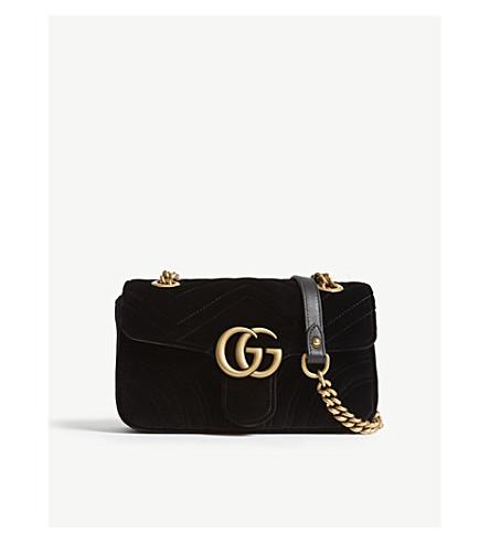 GUCCI GG Marmont mini velvet shoulder bag (Black