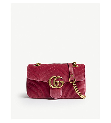 GG Marmont heart-embroidered velvet shoulder bag