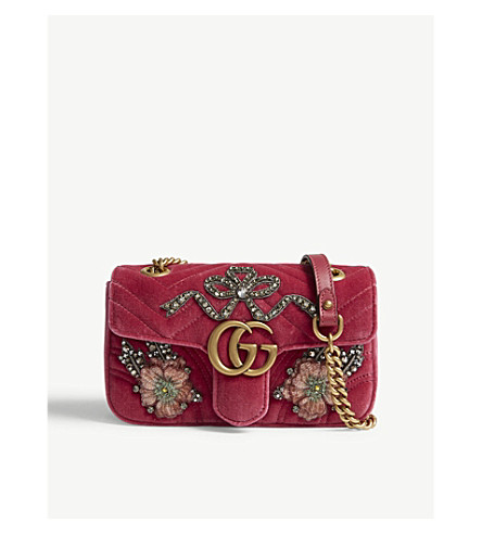 GUCCI GG Marmont velvet cross-body bag (Rasberry