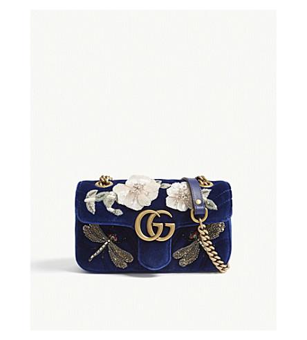 GUCCI GG Marmont crystal-embellished velvet shoulder bag (Cobalt
