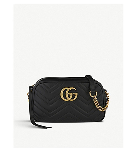 GUCCI Marmont matelassé leather shoulder bag (Black