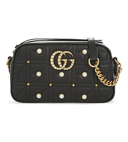 GUCCI Marmont small leather cross-body bag (Black