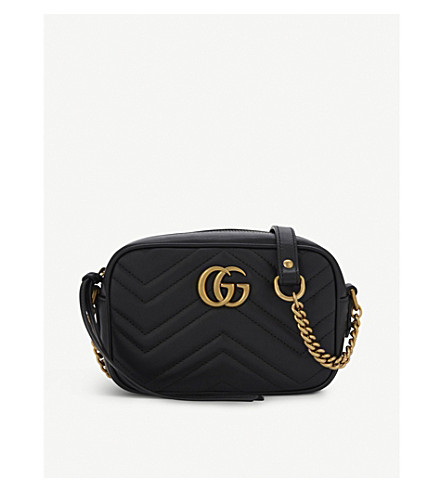 GUCCI GG Marmont mini quilted leather cross-body bag (Black