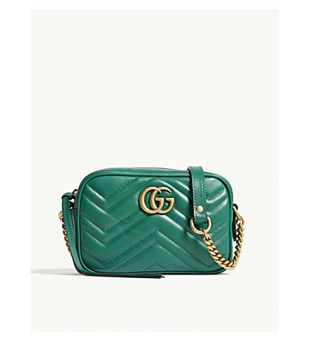 GUCCI GG Marmont mini leather camera cross-body bag (Emerald+green
