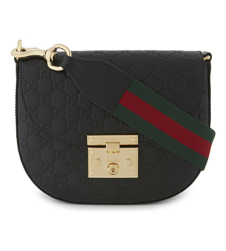 GUCCI Logo leather shoulder bag (Black