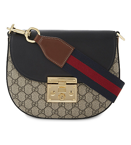 GUCCI Supreme 'gg' leather satchel (Beige+black+brown