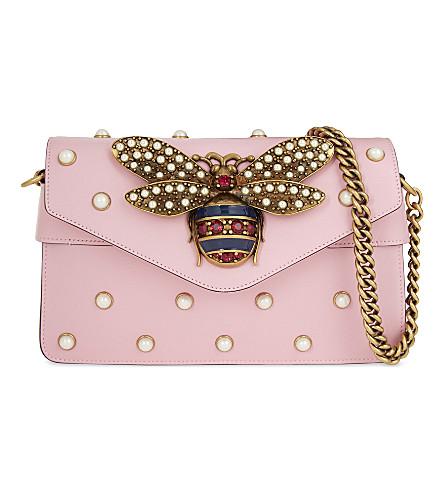 GUCCI Broadway Bee shoulder bag (Sugar+pink