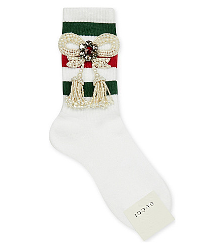GUCCI Little William pearl-embellished cotton-blend socks (White green