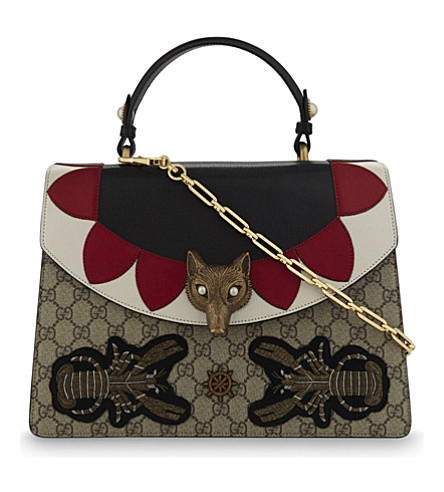 GUCCI Beaded leather and supreme canvas shoulder bag (Beige+multi