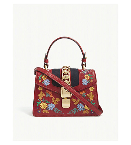 GUCCI Sylvie floral leather cross-body bag (Red