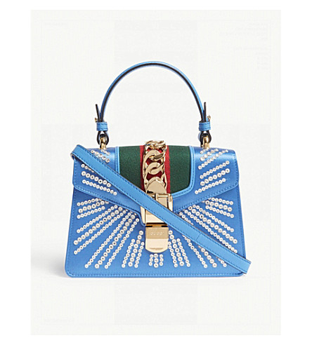 GUCCI Sylvie satin mini bag (Blue