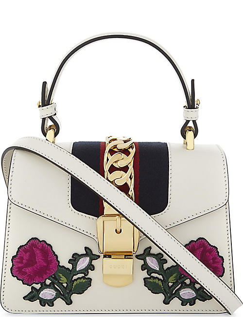 gucci bags for men white. gucci sylvie leather peony appliqué mini shoulder bag gucci bags for men white