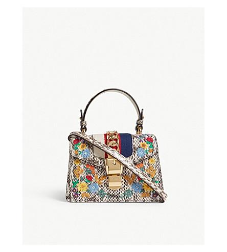 GUCCI Sylvie snake-embossed floral leather mini bag (White+snake