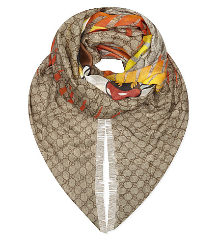 GUCCI Tiger silk scarf (Beige+brown