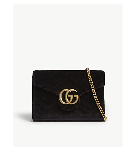 GUCCI Marmont GG velvet wallet-on-chain (Black