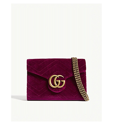 Marmont GG velvet wallet-on-chain