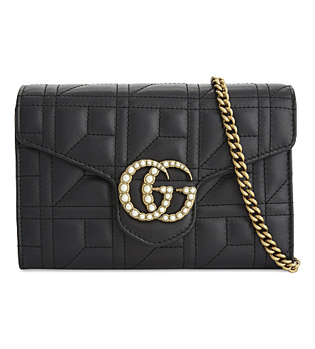 GUCCI Marmont leather cross-body bag (Black+pearls