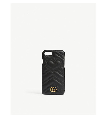 GUCCI GG Marmont leather iPhone 7 clip on case (Black