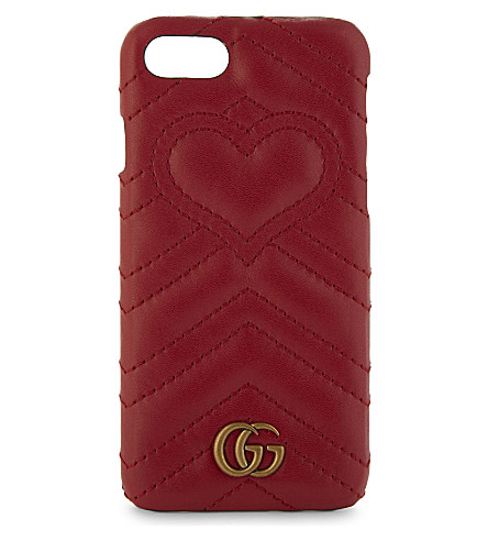 GUCCI GG Marmont leather iPhone 7 clip on case (Red