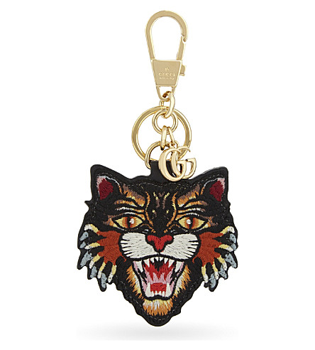 GUCCI Angry cat GG Supreme canvas keyring (Beige