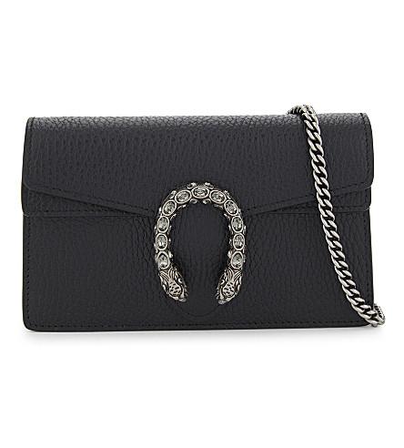 GUCCI Dionysus super mini grained leather cross-body bag (Black