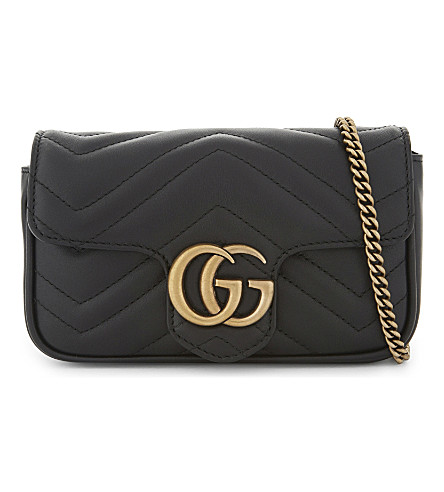 GUCCI Marmont leather cross-body bag (Black
