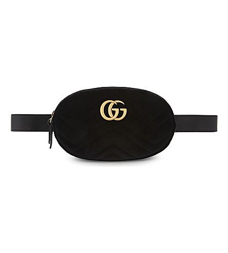 GUCCI Marmont GG quilted velvet belt bag (Black