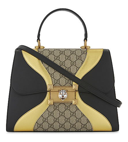 GUCCI Iside leather top handle bag (Black+gold