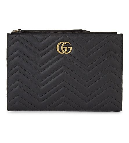 GUCCI Marmont leather pouch (Black