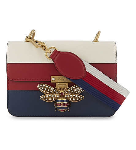GUCCI Jewelled bee leather shoulder bag (Blue+red+white