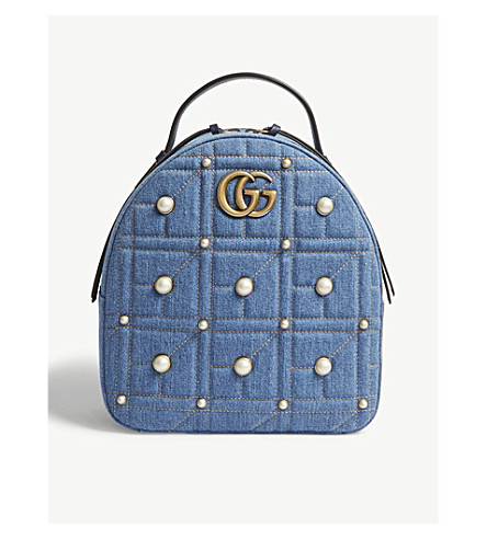 GUCCI GG Marmont denim backpack (Denim