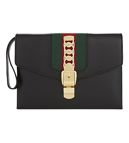 GUCCI Sylvie leather clutch (Black