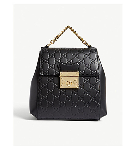 GUCCI GG padlock leather backpack (Black