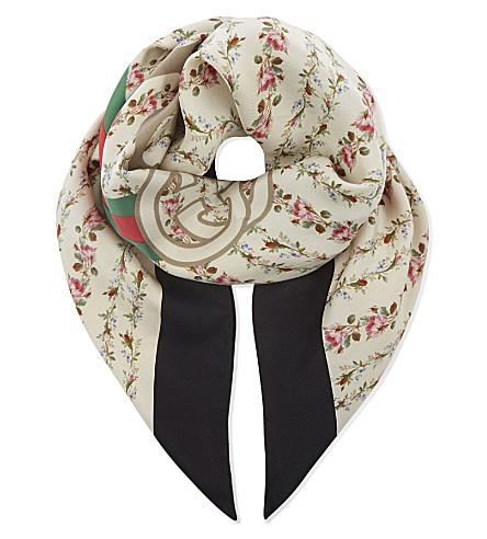 GUCCI Web Stripe silk scarf (Blk+ivory