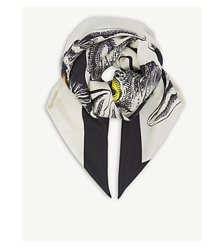 GUCCI Cats silk scarf (Blk+ivory