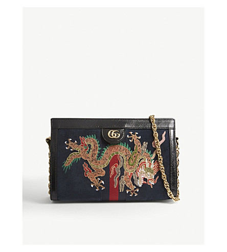 GUCCI Ophidia embroidered small shoulder bag (Black