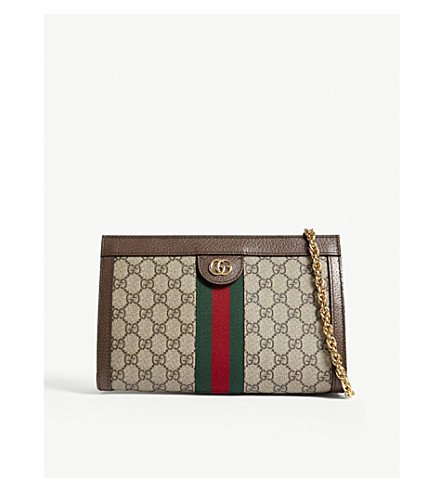 GUCCI Web stripe small GG Supreme shoulder bag (Tan