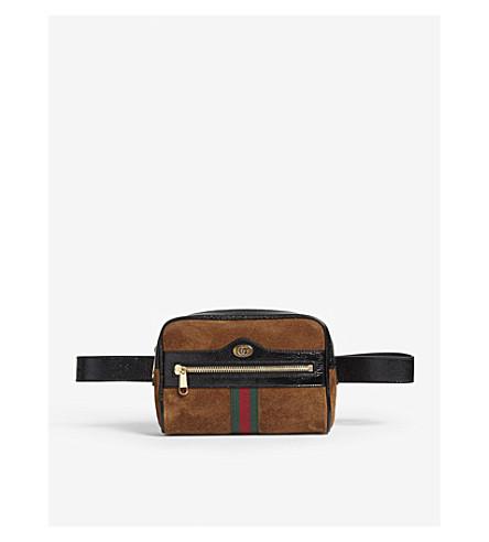 GUCCI Ophidia suede belt bag (Nocciola+tan