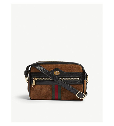 GUCCI Ophidia small suede cross-body bag (Nocciola+tan