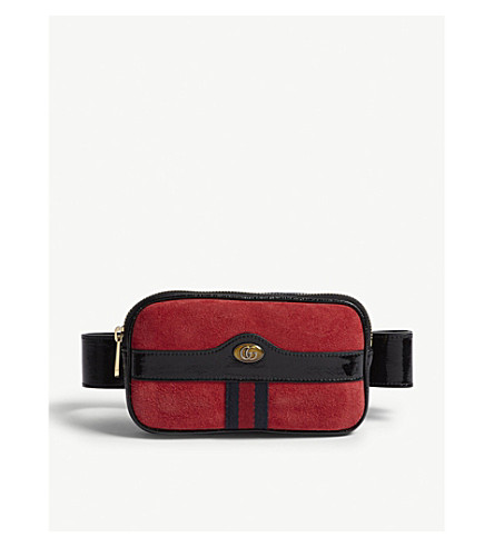 GUCCI Ophidia small leather and suede belt bag (Red