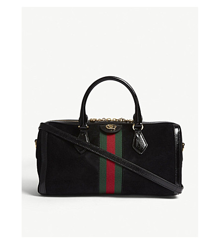 GUCCI Ophidia suede and leather Boston bag (Black