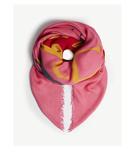 GUCCI GG 标志印花围巾 (粉红色/+ 多