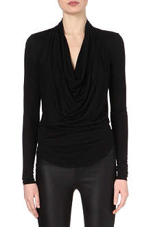 HELMUT LANG Cowl-neck jersey top