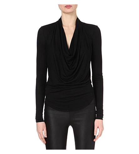 HELMUT LANG Cowl-neck jersey top (Black