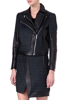 HELMUT LANG Leather jacquard biker jacket