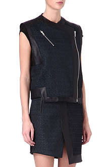 HELMUT LANG Leather jacquard sleeveless biker jacket